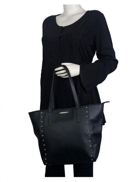 Synthetic  Blanc WomenTote - Black