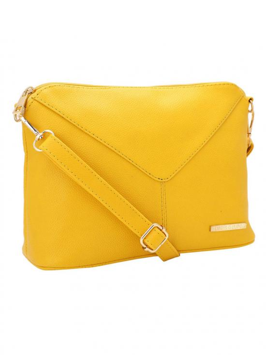 Women Synthetic Sling Bag - Yellow