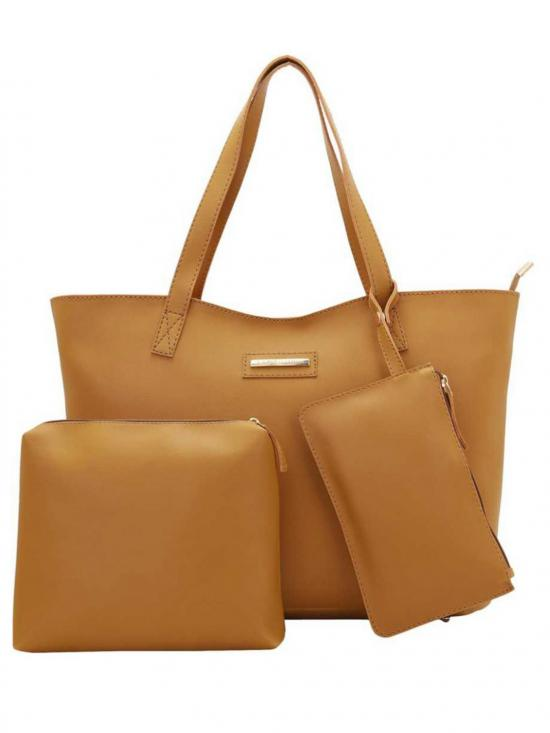Synthetic  Women Tote - Mustard