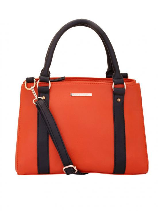 Tangerine Women Synthetic Handbag - Orange