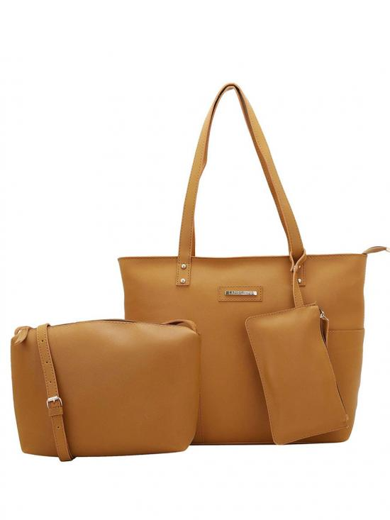 Synthetic Mustard Women Tote - Mustard