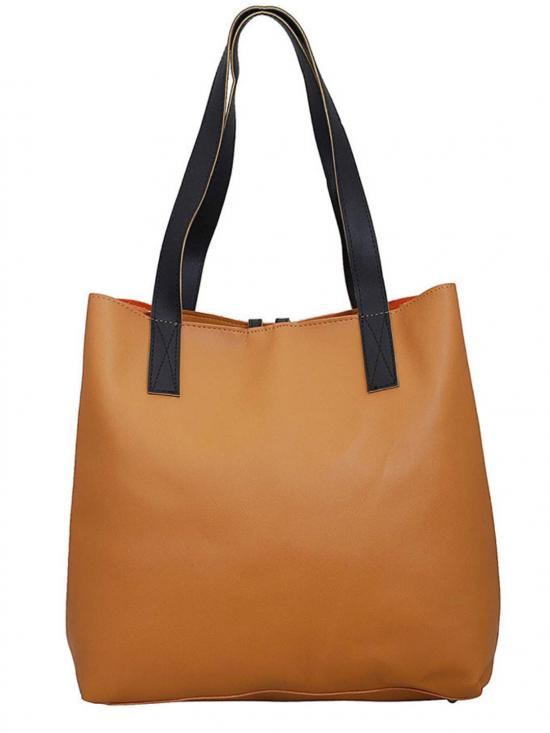 Synthetic Women Tote Bag - Mustard