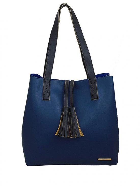 Synthetic Women Tote Bag - Blue
