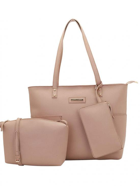 Synthetic  Women Tote - Light Beige