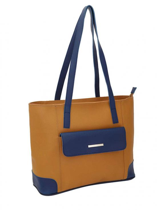 Synthetic  Front Flap Pocket Women Tote - Mustard
