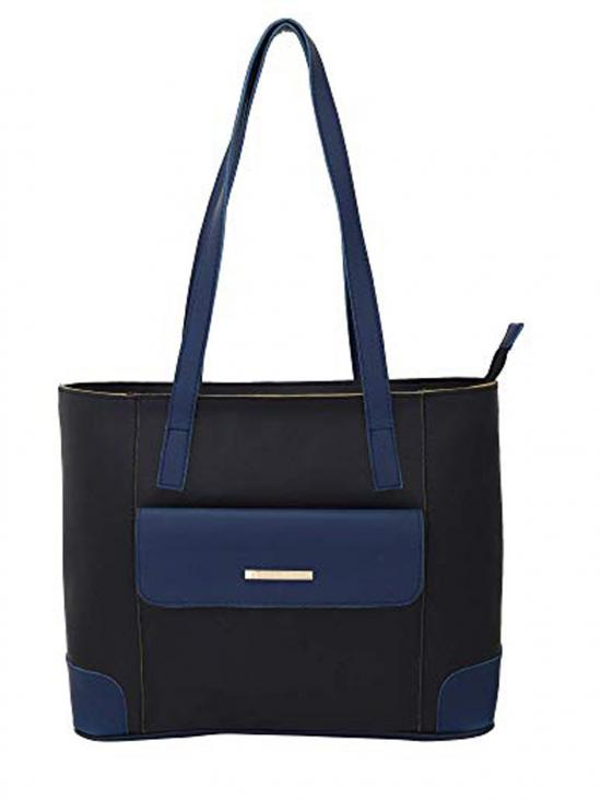 Synthetic Flap Pocket Women Tote - Black