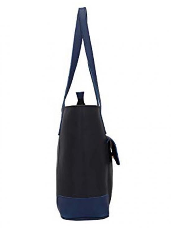 Lapis O Lupo Synthetic Flap Pocket Women Tote - Black