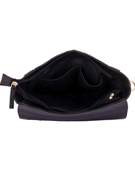 Onyx Women Synthetic Handbag - Black