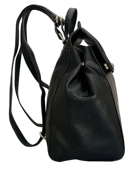 Synthetic Noir Women Backpack - Black