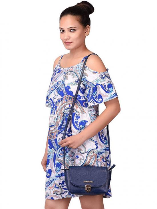 Lapis O Lupo Lewd Women Sling Synthetic Bag - Blue