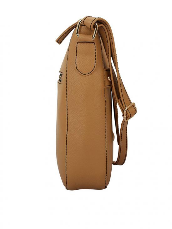 Sand Women Synthetic Sling Bag - Beige
