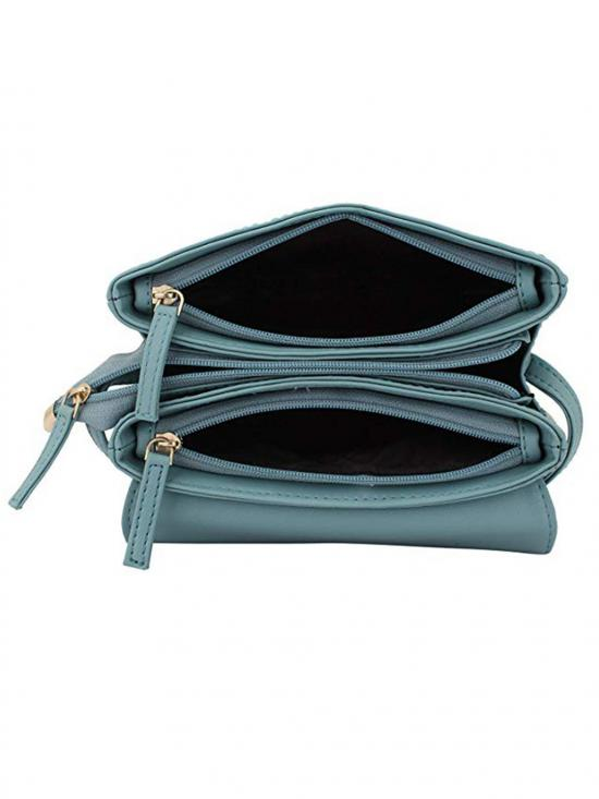 Glaucous Women Synthetic Sling Bag - Light Turquoise