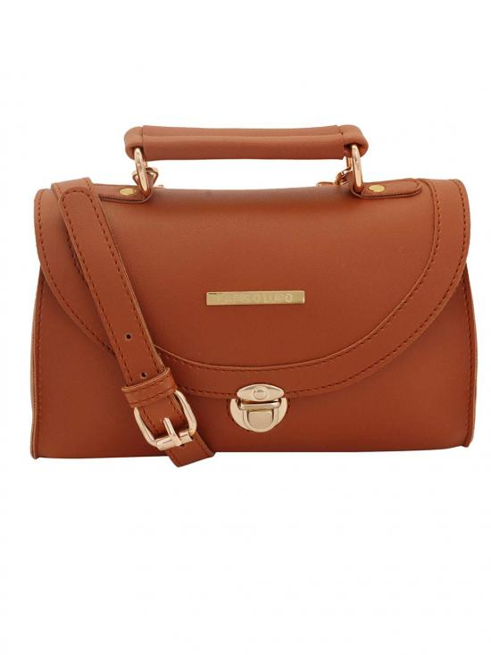 Solid Tan Women Synthetic Sling Bag - Tan