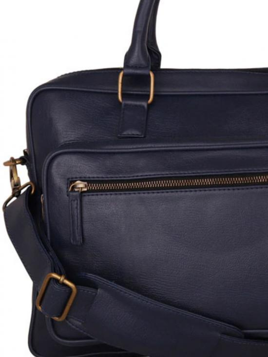 Synthetic Metal Zip Unisex Laptop Bag -Blue
