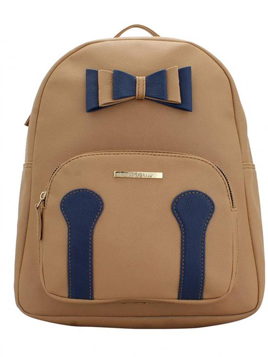 Synthetic  Neutral Womens Backpack - Beige