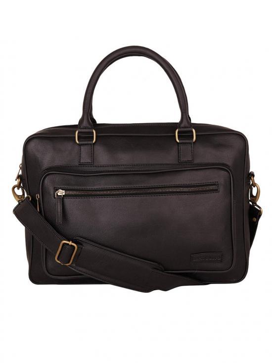 Synthetic  Metal Zip Unisex Laptop Bag - Black