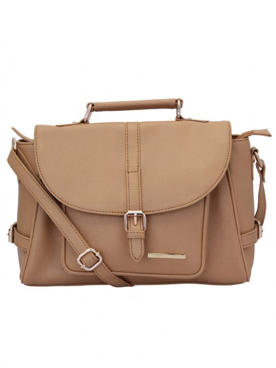 Fawn Women Synthetic Handbag - Beige