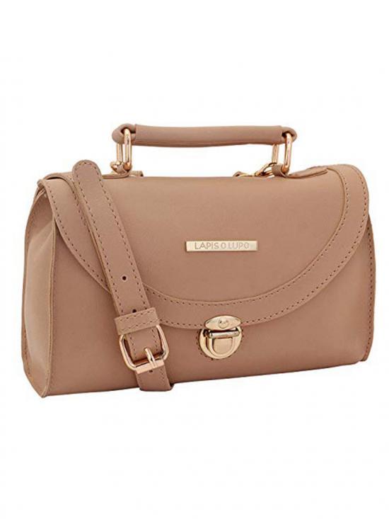 Sepia Beige Women Synthetic Sling Bag - Beige