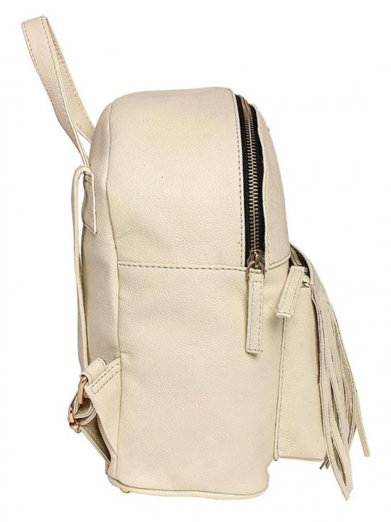 Lapis O Lupo Synthetic Pearl Women Backpack - Offwhite
