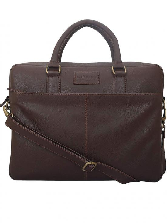Synthetic  Drab Unisex Laptop Bag  - Brown