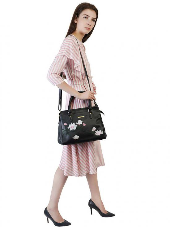 Synthetic Flower Embroidery Women Handbag -Black