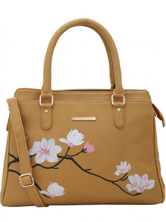 Synthetic  Flower Embroidery Women Handbag -Mustard