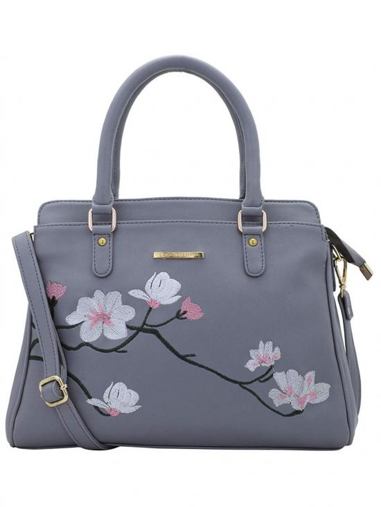 Synthetic Flower Embroidery Women Handbag -Grey