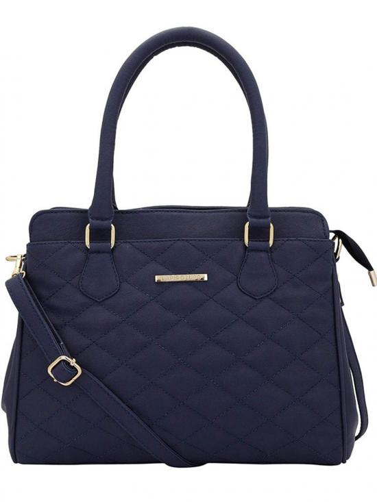 Synthetic Quilt Women Handbag -Blue