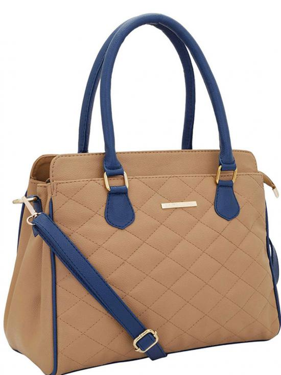 Synthetic Quilt Women Handbag -Beige