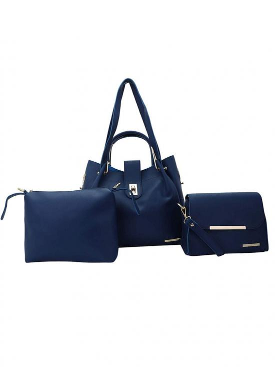 Lapis O Lupo Women's Combo Synthetic Handbag, Sling Bag and Pouch - Blue