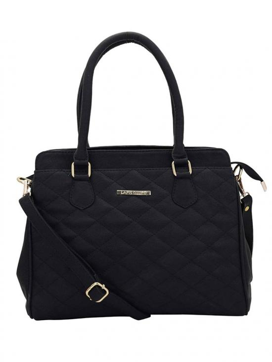 Synthetic Quilt Women Handbag -Black