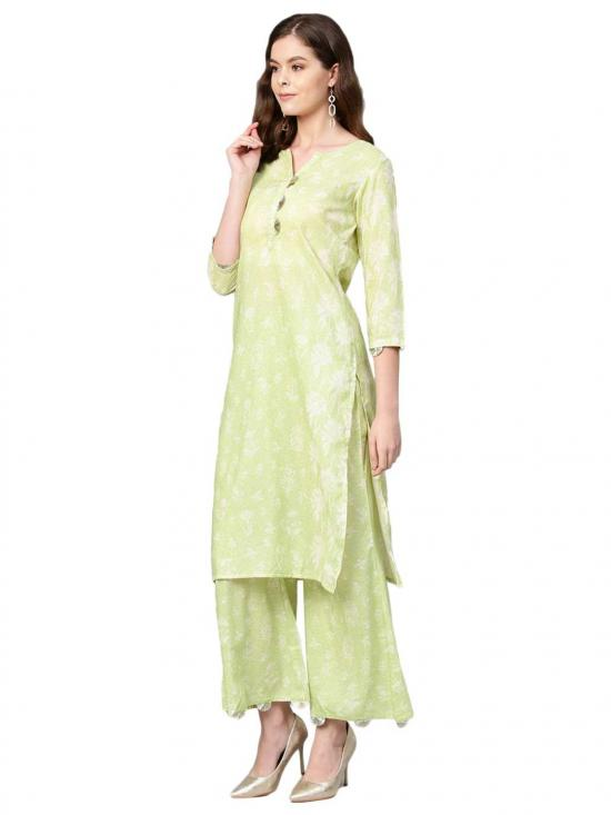 Green and White Printed Kurta set for Women