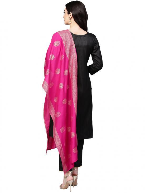 Black with Bright Pink Kurta Set
