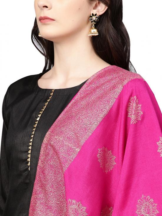 Ahalya Polysilk Kurta Set Black with Bright Pink Color