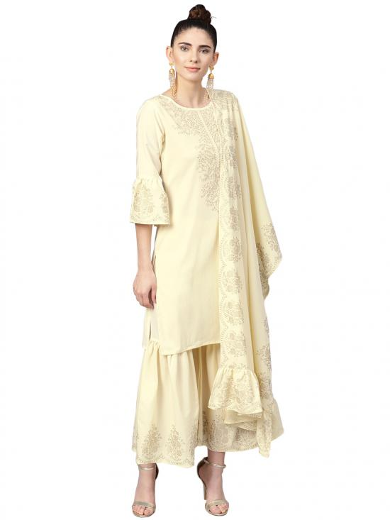 Ahalyaa Women's Poly Crepe Straight Kurta Sets In Cream Colour