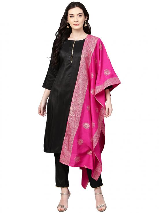 Ahalya Polysilk Kurta Set Black With Bright Pink Color