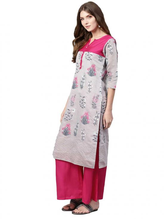 Ahalyaa Grey Printed Kurta set for Women