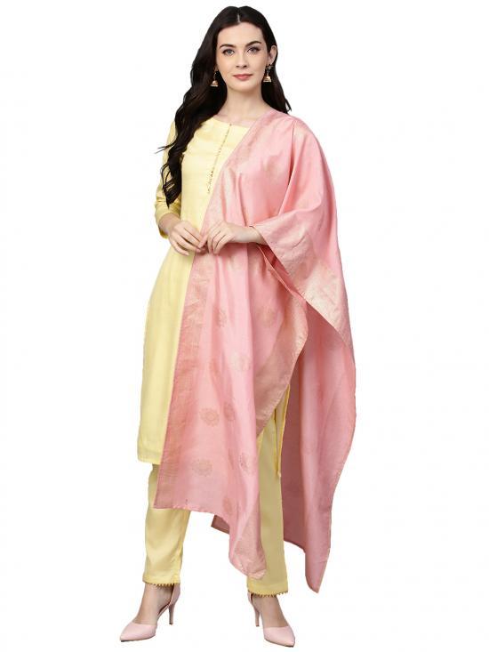 Ahalya Women Polysilk Kurta Set in Pastel Lemon & Pink