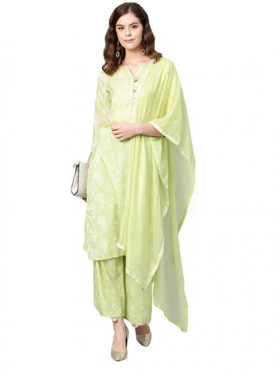 Ahalyaa Women's Polyster Muslin Printed Kurta Set In Green And White