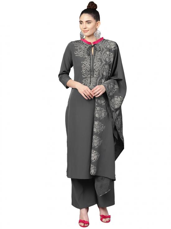 Ahalyaa Women's Poly Crepe Straight Kurta Sets In Grey