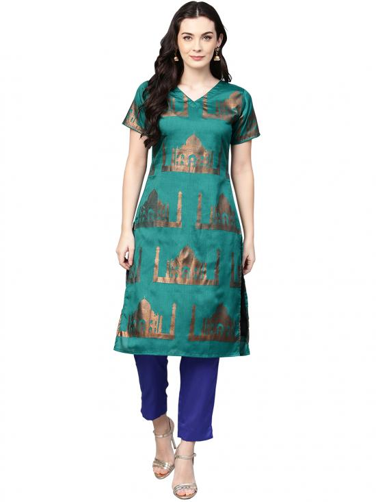 Sea Green & Blue Traditional Hand Printed Faux Silk Kurta Set