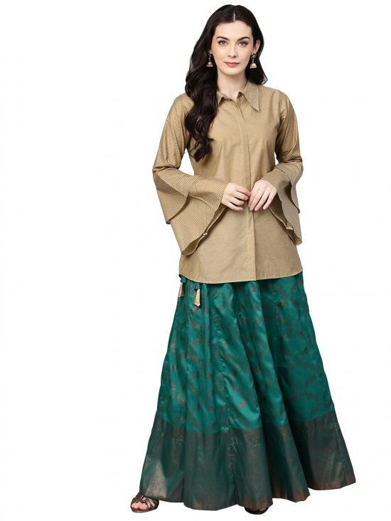 Sea Green & Beige Indo Western Top with Brocade Like Skirt Set