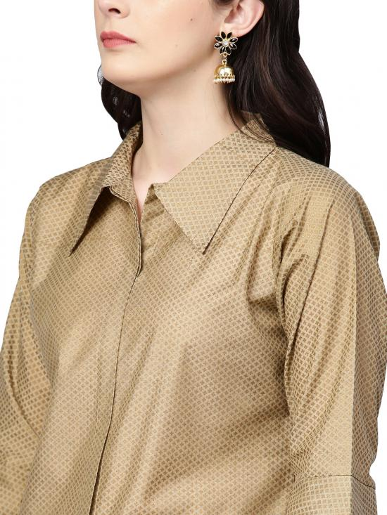 Ahalya Indo Western Top with Brocade Like Skirt Set in Sea Green & Beige Color
