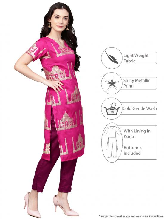 Pink Traditional Hand Printed Faux Silk Combo