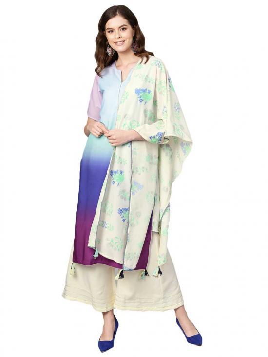 Multi Colour Dyed Kurta set for Women