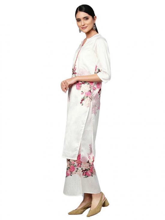 Off White Printed Straight Kurta Set For Women