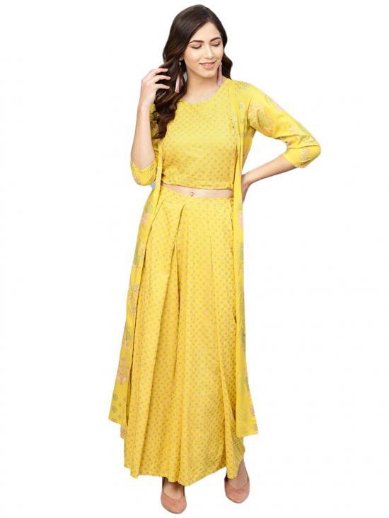 Ahalyaa Women's Rayon Printed Crop Top With Shrug In Yellow