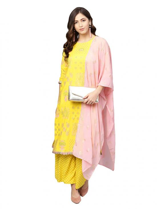 Ahalyaa Women's Rayon Printed Kurta Set In Yellow