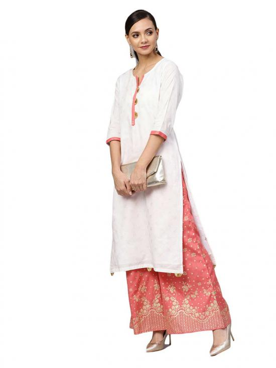 Ahalyaa Cotton Printed Straight Kurta Set In White and Gold Colour