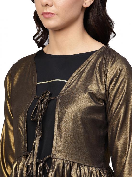 Ahalyaa Golden Flared Crepe, Georgette Indowestern Sets